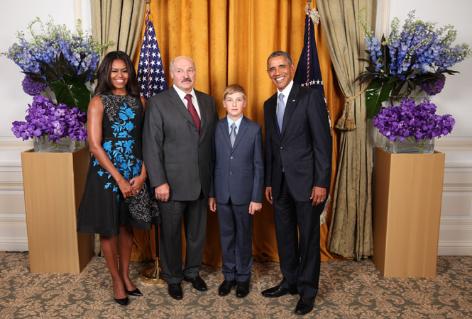 Farther and son Lukashenka with Barack and Michelle Obama
