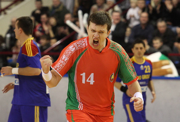Sergey Rutenko playing for the Belarusian national team
