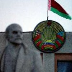 Typical picture in Belarusian towns - Lenin monument and new-old Soviet state symbols of contemporary Belarus