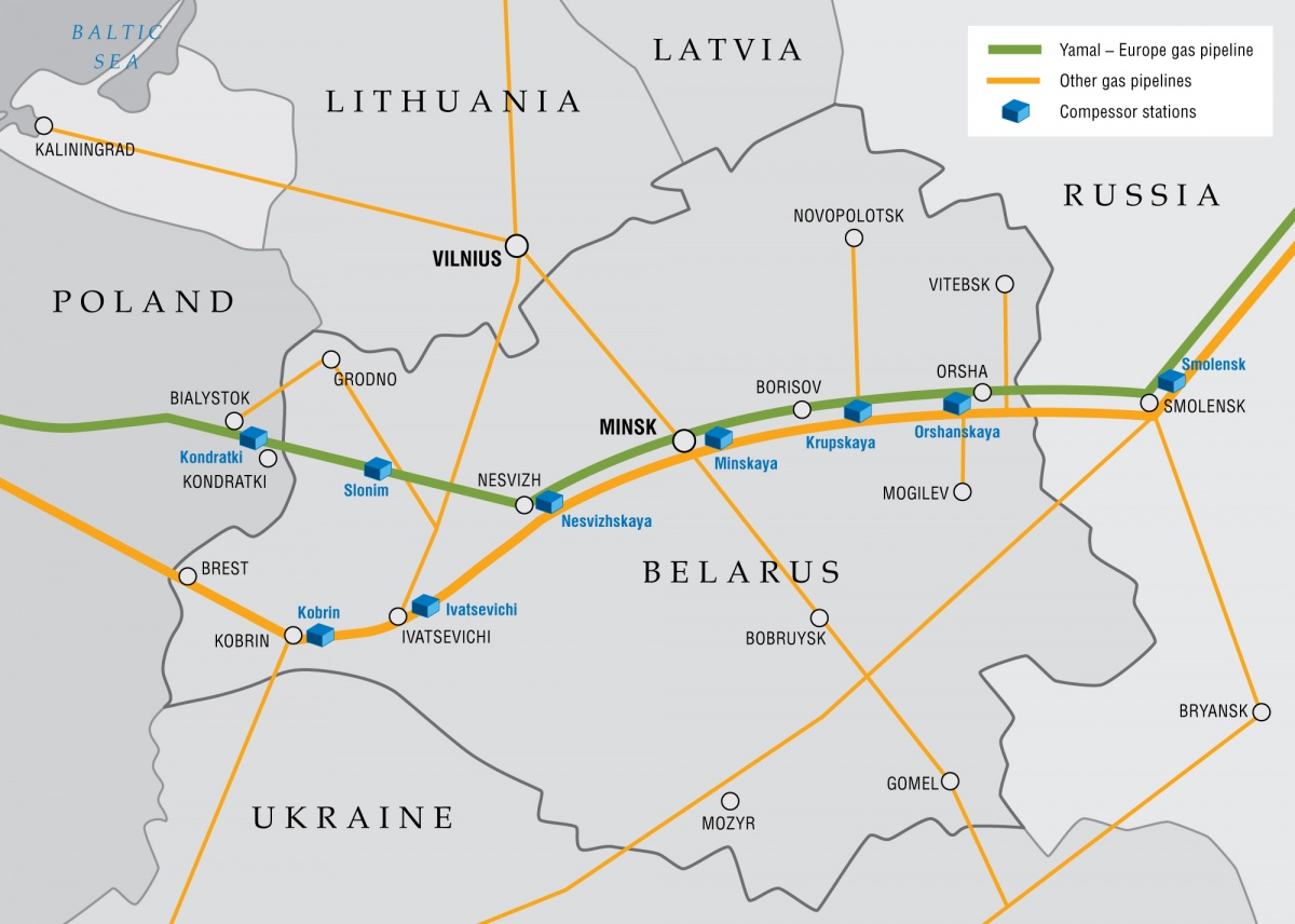 Gas trunklines in Republic of Belarus (gazprom.com)