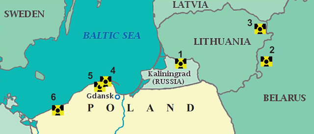 1 – Baltic NPP (Kaliningrad NPP); 2 – Astravets (Belarusian) NPP; 3 – Visaginas NPP; 4,5,6 – three potential localizations (Żarnowiec, Choczewo, Gąski) of the first planned Polish NPP.